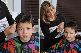 Boy Getting Lice Treatment